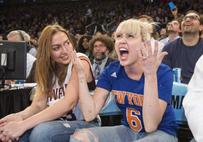 Miley Cyrus along with her mother and sister attend the New York Knicks Vs The Cavaliers game at Madison Square Garden in New York City.Pictured: Brandi Cyrus and Miley Cyrus Ref: SPL1224086  270316 Picture by: Anthony J. Causi / Splash NewsSplash News and Pictures Los Angeles:	310-821-2666 New York:	212-619-2666 London:	870-934-2666 photodesk@splashnews.com